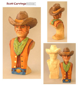 "Cowboy Bust Rough Out - 5.5"" X 2.25"" X 1.75"" - $16.00"