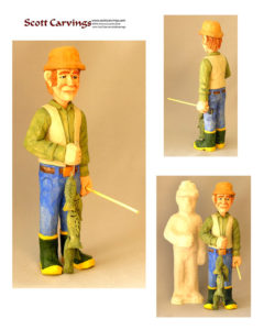 "Fisherman with Fish and Pole Rough Out Kit - 10.5"" X 3.5"" X 3"" - $25.00"