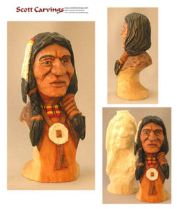 "Native American Bust Rough Out - 6"" X 2.5"" X 2.5"" - $18.00"