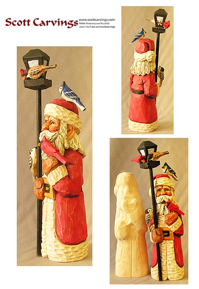 "Santa with Birds Rough Out Kit - 8.5"" X 2.5"" X 2.5"" - $25.00"