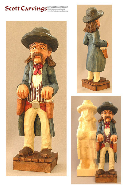 "Wild-Bill-Hickok Rough-Out - 10.5"" X 3"" X 2.5"" - $25.00"